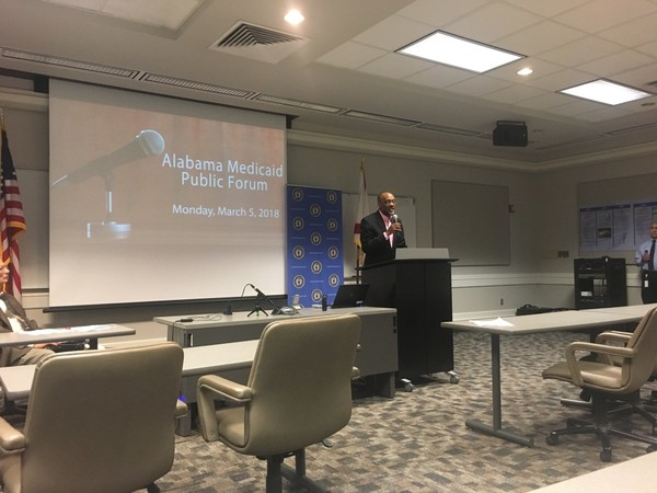 Robert Kennedy Jr. of Prichard, a Democratic candidate for Congress in Alabama's 1st District, speaks in opposition to Medicaid's plan to impose work requirements on some able-bodied parents and caretakers.
