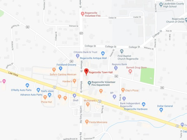 Seven people, including police officers, emergency workers and city employees, were hospitalized today after being exposed to a mysterious liquid today at the Rogersville police department. (Image: Google Maps)