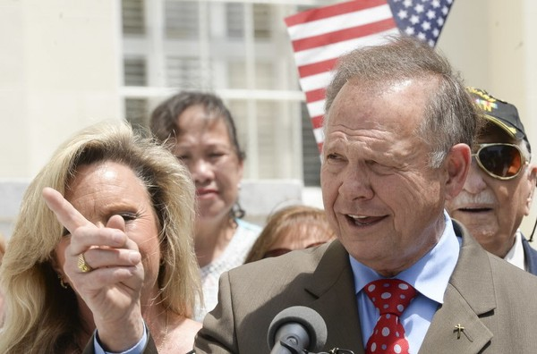 Alabama Chief Justice Roy Moore announces his plans to run for U.S. Senate Wednesday, April 26, 2017, on the steps of the Capitol in Montgomery, Ala., during a press conference. (Julie Bennett/jbennett@al.com)
