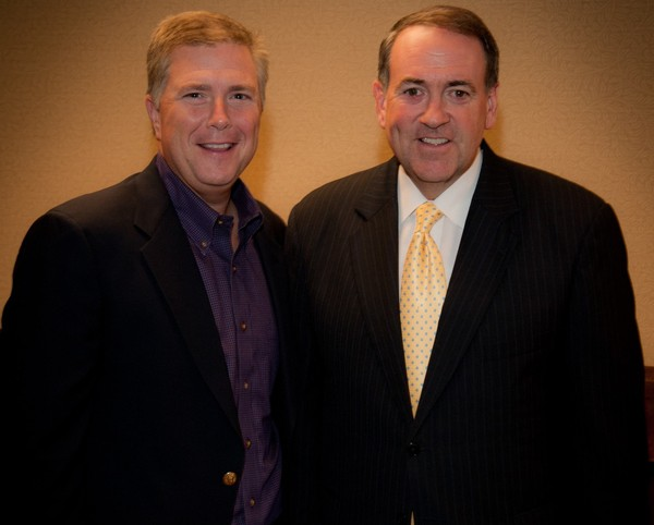 Scott Dawson, a candidate for the Republican nomination for governor of Alabama, with former Arkansas Gov. Mike Huckabee. (Dawson campaign).