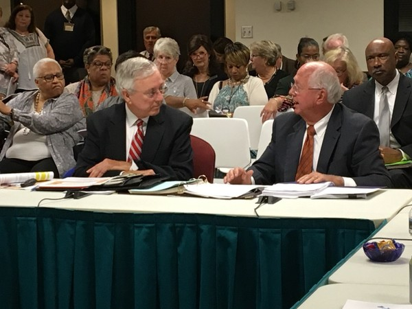 Former Alabama superintendent Dr. Joe Morton (l) and interim state superintendent Dr. Ed Richardson (r) present the latest federal education plan during the state board of education work session on Sept. 27, 2017.