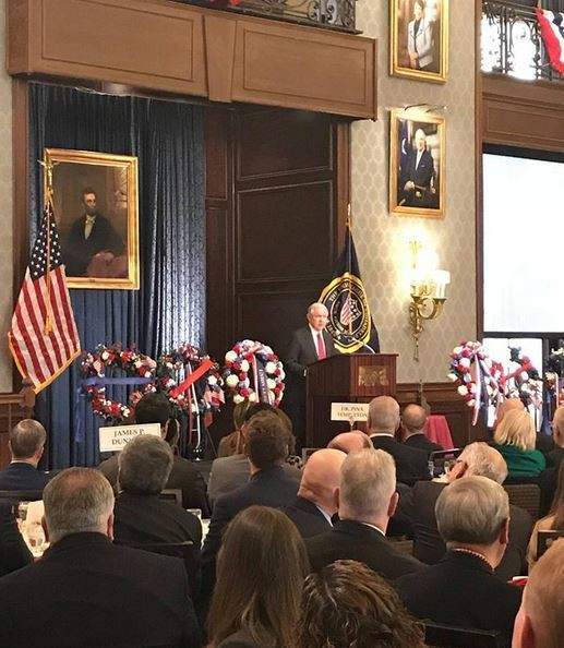Attorney General Jeff Sessions speaks at the Abraham Lincoln Foundation of the Union League of Philadelphia's annual Lincoln Day Celebration. (Contributed photo/Justice Department)