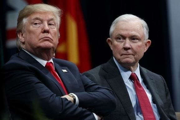 President Donald Trump sits with Attorney General Jeff Sessions during the FBI National Academy graduation ceremony, Friday, Dec. 15, 2017, in Quantico, Va. (AP Photo/Evan Vucci)(Evan Vucci)