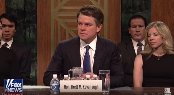 Matt Damon portrayed Brett Kavanaugh in the season opener for Saturday Night Live. (Contributed photo/YouTube)