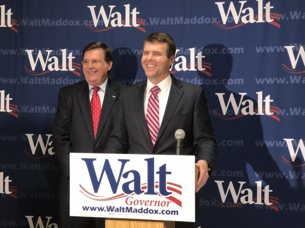 Former state Agriculture Commissioner Ron Sparks (l.) endorsed Tuscaloosa Mayor Walt Maddox for governor on Monday, April 30, 2018.