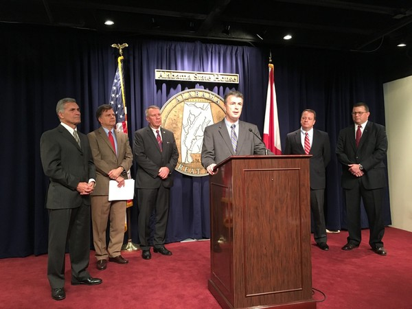 Attorney General Steve Marshall speaks at a press conference about plans for updating and clarifying the state ethics law. From left, Sen. Del Marsh, Sen. Arthur Orr, House Speaker Mac McCutcheon, Ethics Commission Executive Director Tom Albritton and Rep. Mike Jones.