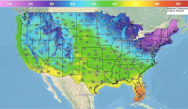 Here's a look at high temperatures in the forecast for Thursday, Thanksgiving Day. Looks frigid in the Northeast, with the warmest weather in the nation in South Florida. (National Weather Service)