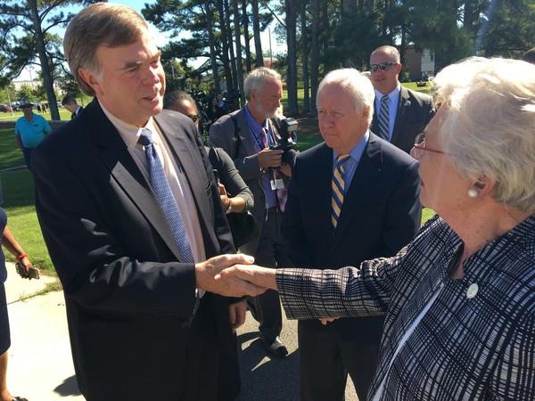 Huntsville Mayor Tommy Battle, left, speaks with Gov. Kay Ivey at the University of Alabama in Huntsville on Oct. 17, 2017. (Paul Gattis/pgattis@al.com)