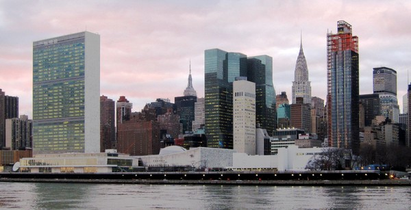 The United Nations headquarters (far left) in New York City. (Wikimedia Commons)