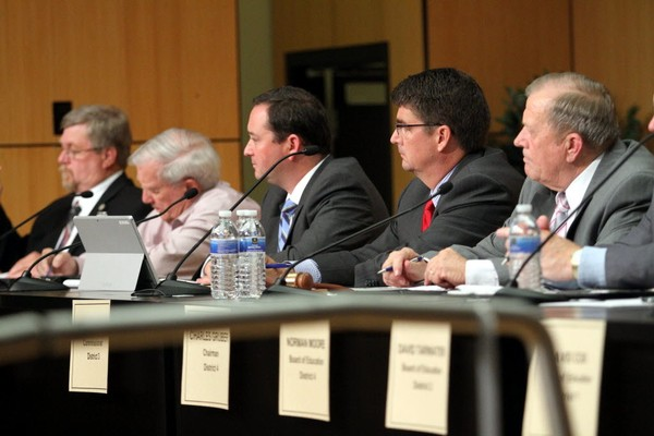 "Members of the Baldwin County Commission listen to citizens speak during a meeting in Robertsdale, Ala., on April 30, 2015. Only Commissioner Charles ""Skip"" Gruber (seated to the far right) is guaranteed to return for another four-year term. Commissioner Tucker Dorsey (seated next to Gruber) will face Billie Jo Underwood during a July 17 GOP runoff election. Commissioner Chris Elliott will face Dr. David Northcutt during a July 17 runoff for an Alabama State Senate seat. Frank Burt, who first joined the commission in 1988, was defeated by James ""Jeb"" Ball during the Tuesday, June 5, 2018, Republican primary. (Michael Dumas/mdumas@al.com)"