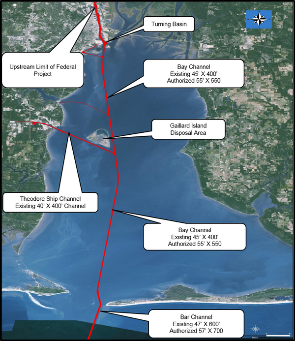 A Corps of Engineers image shows the areas affected by a plan to enlarge the ship channel that connects the Port of Mobile to the Gulf of Mexico. (USACE)