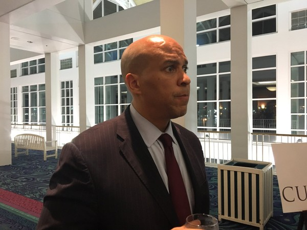 U.S. Sen. Cory Booker, D-N.J., talks to the local media on Wednesday, Jan. 10, 2018, at the Arthur R. Outlaw Mobile Convention Center in Mobile, Ala., during the National Baptist Conference USA winter meeting. Booker was the keynote speaker. (John Sharp/jsharp@al.com).