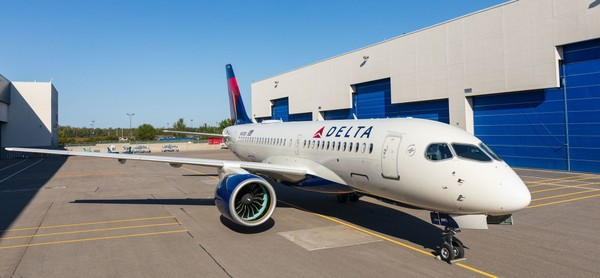 Delta Air Lines' first Airbus A220-100 was introduced this week after rolling out of the painting hangar at the A220 final assembly line in Mirabel, Quebec. (Courtesy of Airbus)
