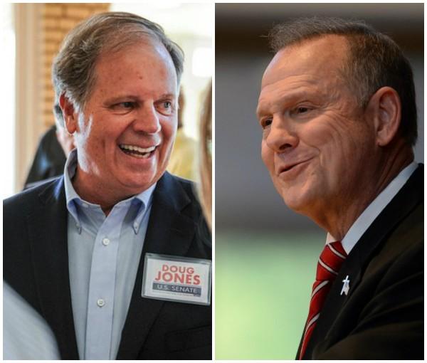 Democrat Doug Jones (left), Republican Roy Moore (right)