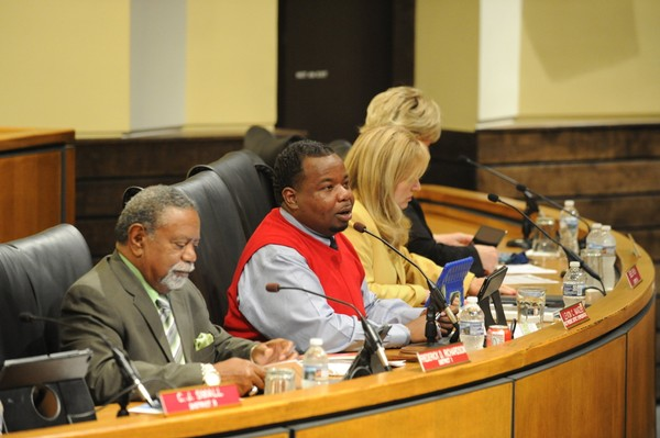 Mobile City Council Vice President Levon Manzie speaks during the council session on Tuesday, Sept. 25, 2018. At that meeting, the council altered Mayor Sandy Stimpson's proposed budget; repercussions are still being felt. (John Sharp/JSharp@AL.com)