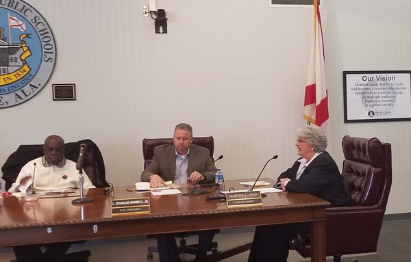 Mobile County School Superintendent Martha Peek, right, speaks to board members on Wednesday, Jan. 31, 2018. At left is Commissioner Robert Battles; at center is Commissioner L. Douglas Harwell Jr. (Lawrence Specker/LSpecker@AL.com)