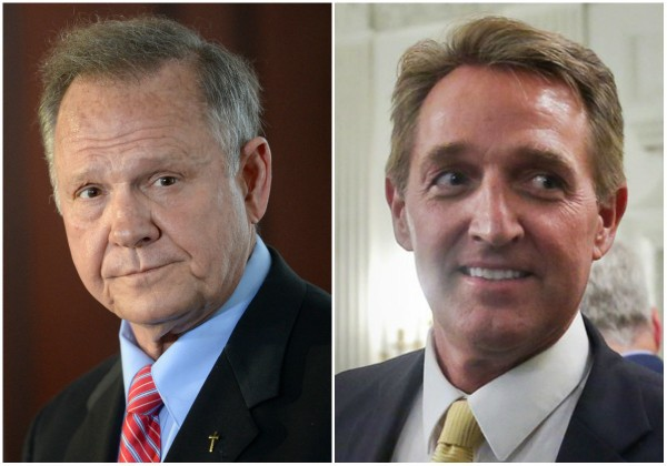 Alabama Senator candidate Roy Moore (left), U.S. Sen. Jeff Flake, R-Ariz. (right)