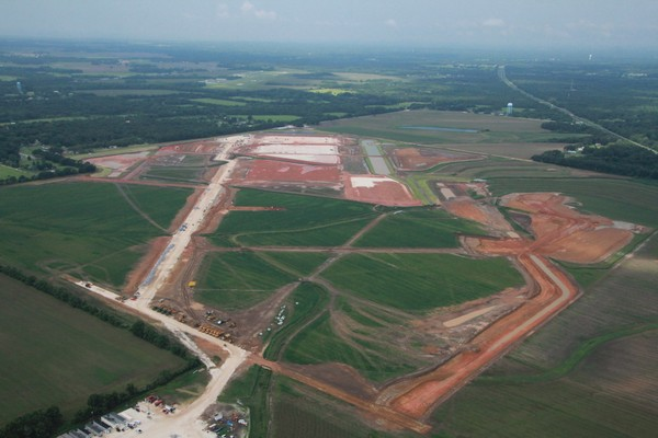 An aerial photo from 2017 shows the site where a gigantic Walmart distribution hub is being built in Mobile County west of Mobile. (Courtesy of Sam St. John)