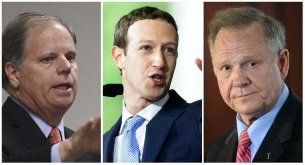 "Pictured from left to right: Democrat U.S. Senator Doug Jones, Facebook CEO Mark Zuckerberg and Republican Roy Moore. Zuckerberg, in a New York Times interview Wednesday, said a ""significant number"" of Macedonia Facebook accounts were disabled ahead of the Dec. 12, 2017, special U.S. Senate election. Zuckerberg said the foreign accounts were attempting to spread false news. Jones defeated Moore by slightly more than 20,000 votes."