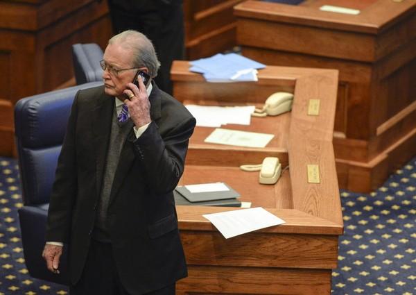 Sen. Jabo Waggoner makes a call on the Senate floor Tuesday, Feb. 9, 2016, during regular legislative session in Montgomery, Ala. (Julie Bennett/jbennett@al.com)