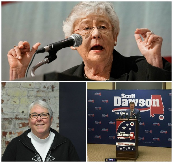 From top: Gov. Kay Ivey, GOP challenger Scott Dawson and former Rep. Patricia Todd. Not exactly a love triangle.