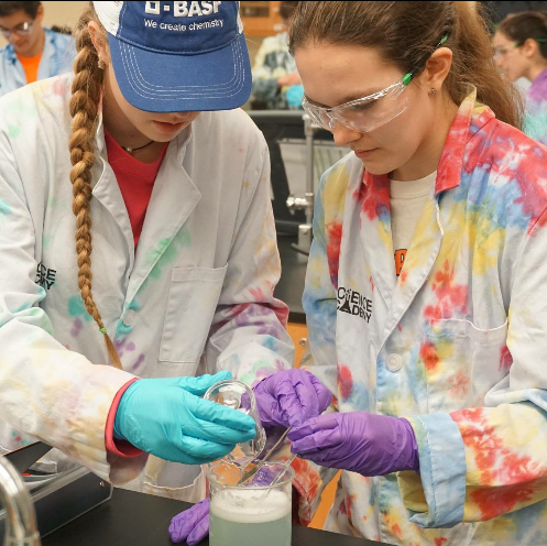 Lily Rose Smith, left, of Huntsville, works on an experiment at BASF Science Academy.