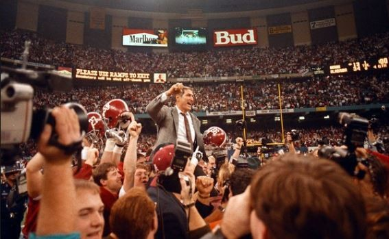 Alabama football coach Gene Stallings is carried off the field after beating Miami in the 1993. (Photo courtesy of Bryant museum)