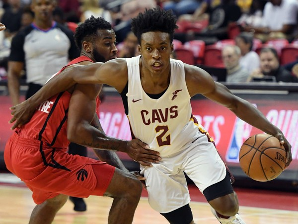 05a54889bd65 Cleveland Cavaliers guard Collin Sexton drives past Codi Miller-McIntyre of  the Toronto Raptors during