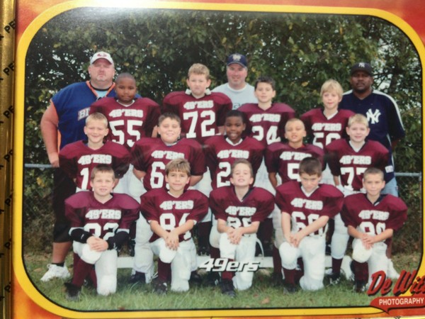 Alabama running back Damien Harris and Auburn quarterback Jarrett Stidham played 7- and 8-year-old Little League football together in Richmond, Kentucky. Stidham is No.24 in the picture, and Harris is directly below him.
