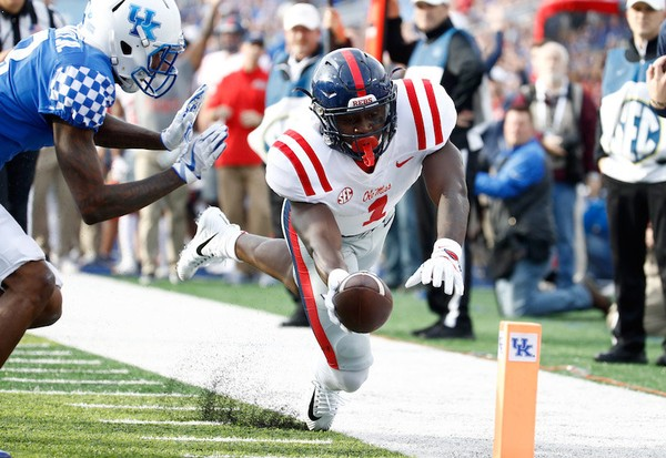 Ole Miss wide receiver A.J. Brown (1) is one of the top players in the SEC heading into 2018. (Photo by Andy Lyons/Getty Images)
