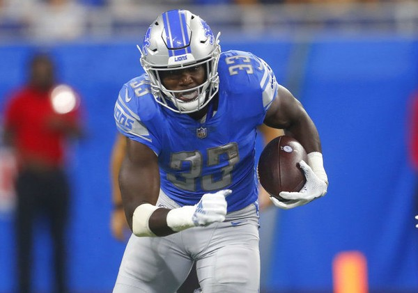 3910ceb0460 Detroit Lions running back Kerryon Johnson carries the football during an  NFL preseason game against the
