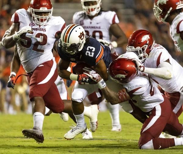 Auburn wide receiver Ryan Davis runs after making a reception during an SEC game against Arkansas on Sept. 22, 2018, at Jordan-Hare Stadium in Auburn.