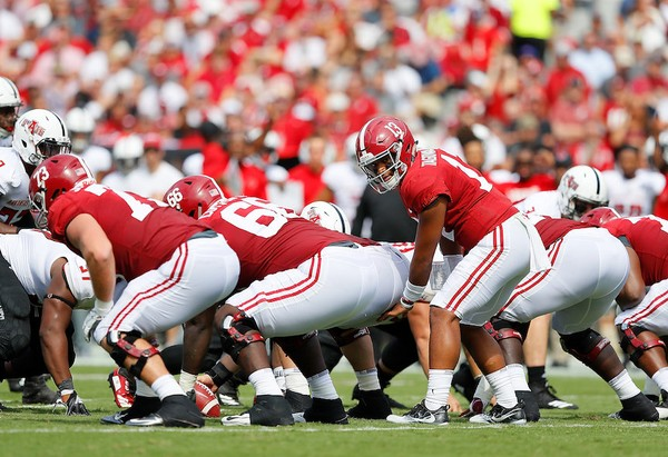 Tua Tagovailoa (13) runs the Alabama offense against Arkansas State at Bryant-Denny Stadium on September 8, 2018 in Tuscaloosa, Alabama. (Photo by Kevin C. Cox/Getty Images)