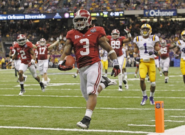 Alabama running back Trent Richardson scores a touchdown against LSU during the BCS national-championship game on Jan. 9, 2012, at the Mercedes-Benz Superdome in New Orleans.