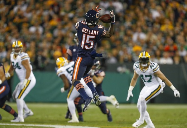 096ba0786 Chicago Bears wide receiver Josh Bellamy catches a pass during an NFL game  against the Green