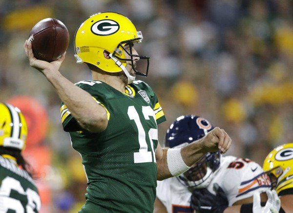 Green Bay Packers quarterback Aaron Rodgers throws a pass during an NFL game against the Chicago Bears on Sunday, Sept. 9, 2018, at Lambeau Field in Green Bay, Wis.