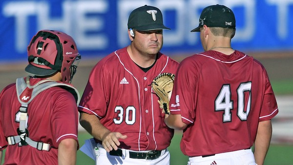 Former Troy pitching coach Brad Phillips (30) has joined the staff at South Alabama. (Benjamin R. Massey/Troy athletics)