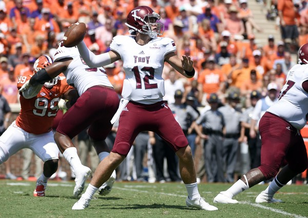 FILE - In this Sept. 10, 2016, file photo, Troy quarterback Brandon Silvers (12) looks to pass against Clemson during the first half of an NCAA college football game in Clemson, S.C. (AP Photo/Rainier Ehrhardt, File)