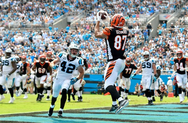 Cincinnati Bengals tight end C.J. Uzomah catches a touchdown pass during an NFL game against the Carolina Panthers on Sept. 23, 2018, at Bank of America Stadium in Charlotte, N.C.