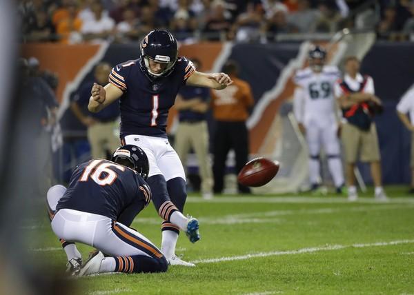 e456b605e98 Chicago Bears place-kicker Cody Parkey kicks a field goal during an NFL  game against