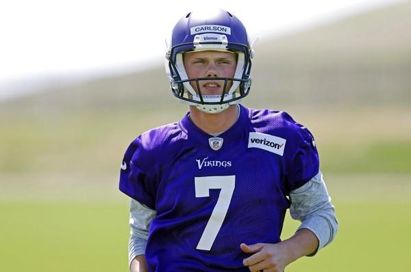 Minnesota Vikings place-kicker Daniel Carlson at the NFL team s rookie  minicamp on Friday 44fb75c22