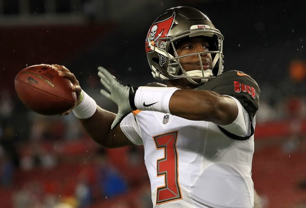 Tampa Bay Buccaneers quarterback Jameis Winston warms up before an NFL  preseason game against the Detroit 92a35d65cc2