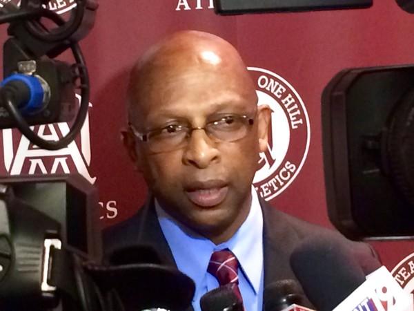 New Alabama A&M men's basketball coach Donnie Marsh speaks to the media April 12, 2017 in Huntsville, Ala. (Daniel Boyette/dboyette@al.com)