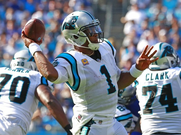 Carolina Panthers quarterback Cam Newton throws a pass during an NFL game against the New York Giants on Sunday, Oct. 7, 2018, at Bank of America Stadium in Charlotte, N.C.