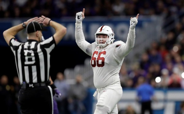 Stanford defensive tackle Harrison Phillips celebrates a fumble recovery against TCU in the Alamo Bowl on Dec. 28, 2017.