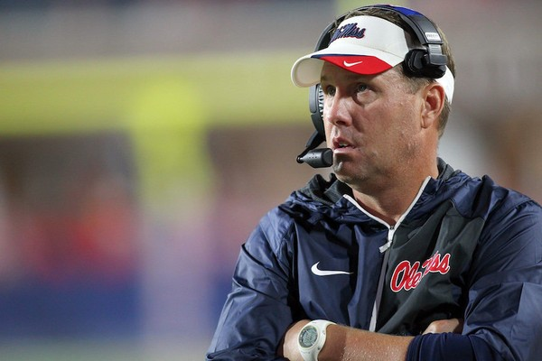 Former Ole Miss head coach Hugh Freeze looks on against Memphis during their NCAA football game at Vaught-Hemingway Stadium in Oxford, Miss., Saturday, Oct. 1, 2016. (James Pugh/The Laurel Chronicle, via AP)