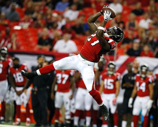 Atlanta Falcons safety Robenson Therezie intercepts a pass during an NFL preseason game against the Jacksonville Jaguars on Sept. 1, 2016, in Atlanta.