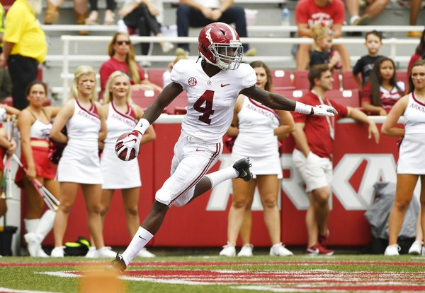 Alabama wide receiver Jerry Jeudy is a candidate to be the first player to score a touchdown in the SEC Championship Game.