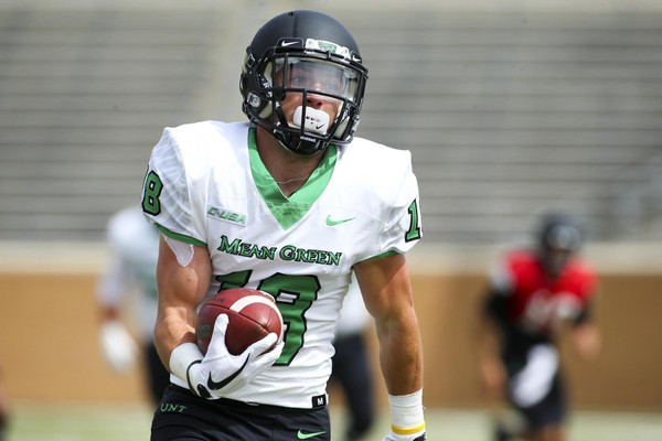 North Texas punt returner Keegan Brewer ran one back 90 yards for a touchdown against Arkansas. (North Texas photo)