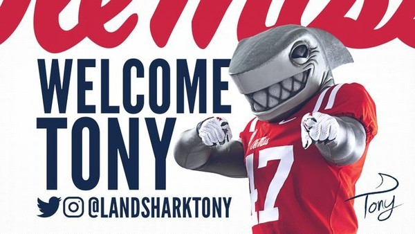 """Ole Miss on Saturday unveiled its new official athletic mascot """"Landshark Tony."""" (Ole Miss Sports on Twitter)"""